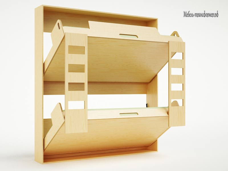 Двухярусная кровать в стене - Кровать трансформер - Мебель-трансформер.РФ
