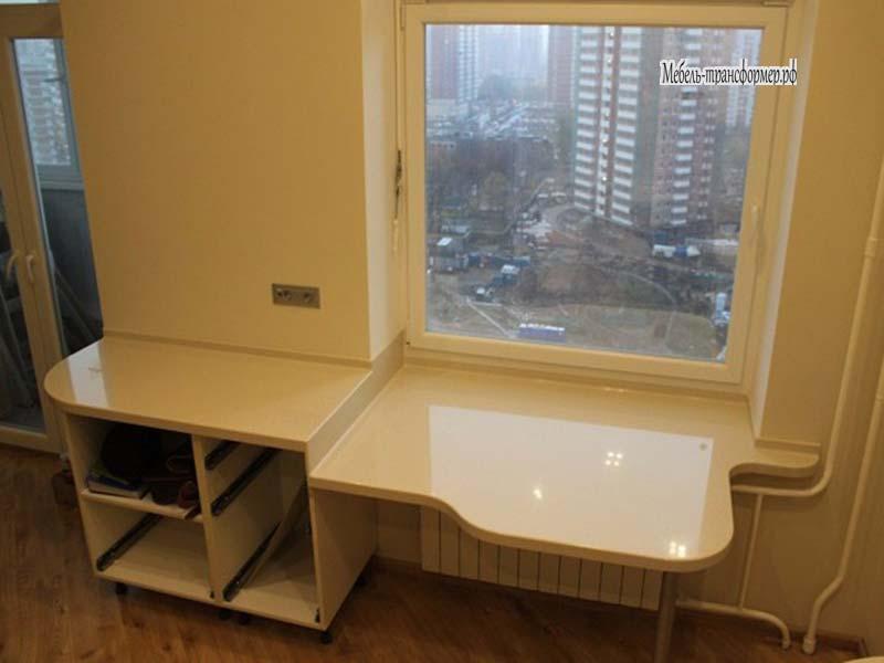 Стол - подоконник на кухне - стол трансформер - мебель-транс.