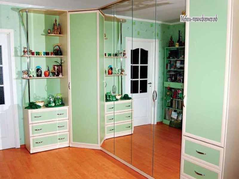 Вертикальная шкаф кровать с зеркальными дверьми - шкаф транс.