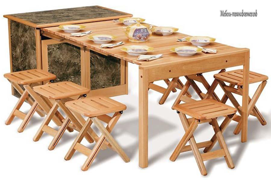 Выдвижной стол шкаф с табуретами на кухню - стол трансформер.