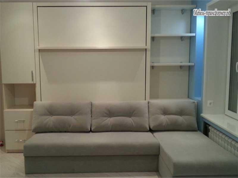 Кровать трансформер в шкафу с диваном своими руками